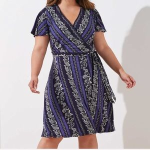 LOFT Plus Wrap Dress Flowering Vines Purple Black